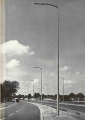 Stanton & Staveley - concrete street lighting column and bracket (1812CS), A45 Northampton, c1970 (mikeyashworth) Tags: northampton 1970s a45 stantonstaveley concretelampposts stantonstreetlightingcolumns stantonstreetlighting stanton1812cs mikeashworthcollection