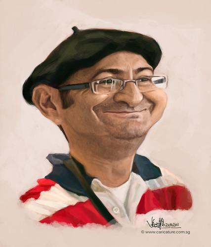 digital caricature of Tuncay Erol