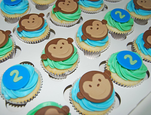 monkey 2nd birthday cupcakes