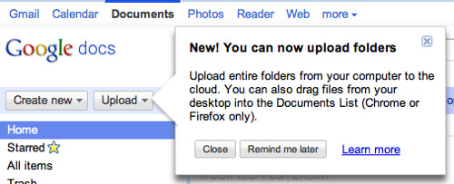 Upload folders to Google Docs