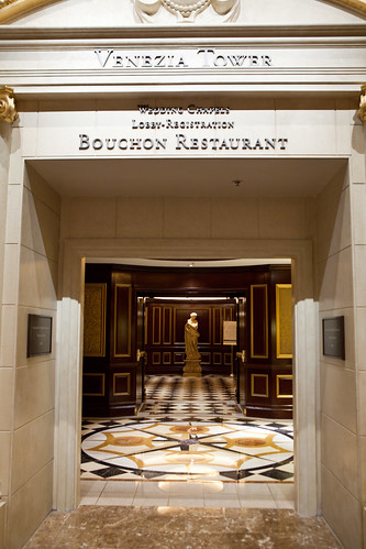 Entrance to the elevators leading to Bouchon Bistro