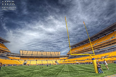 Inside Heinz Field HDR (Dave DiCello) Tags: moon beautiful skyline photoshop sunrise dawn nikon pittsburgh tripod nikkor hdr highdynamicrange heinzfield cs4 andyrussell pittsburghsteelers photomatix beautifulcities tonemapped colorefex cs5 beautifulskyline d700 fanblitz davedicello thepointinpittsburgh hdrexposed