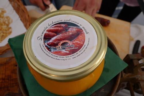 Slavonian sausage preserved in lard