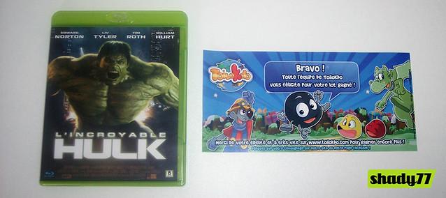 Réception Blu-ray de lincroyable Hulk gagné sur Toilokdo