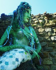 Giant Mermaid (teaselbrush) Tags: uk carnival england green face up leaves festival jack sussex coast town costume seaside spring ribbons paint day village dancers dress dancing south traditional may makeup folklore dressing parade east coastal figure fancy british giants hastings morris tradition mermaid papier mache rites pagan greenman beltane folkloric jackinthegreen