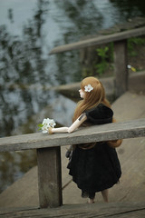 Looking at the sparkling water (Mikaelle-sama) Tags: bridge flowers flower water amber spring pond doll super bjd soom gem caliph