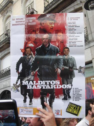 """Parodia de cartel de la peli """"Malditos bastardos"""" con Botín, Rajoy, ZP Aguirre y Gallardón"""