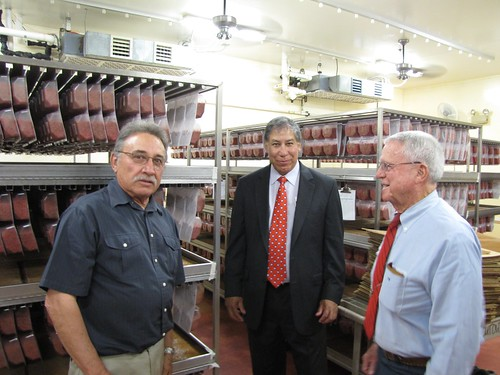 Under Secretary Ed Avalos with Don Butler, Director of the Arizona Department of Agriculture, and Ernie Miller, Director of the Pink Bollworm Rearing Facility in Phoenix, AZ.