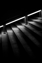 Rester dans la lumire (tristanlb) Tags: light bw metal night stairs dark scary neon darkness stones clairobscure obscure