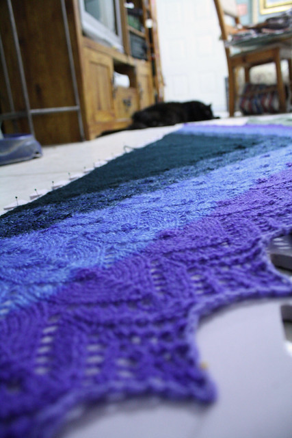 TwitKAL shawl, blocking