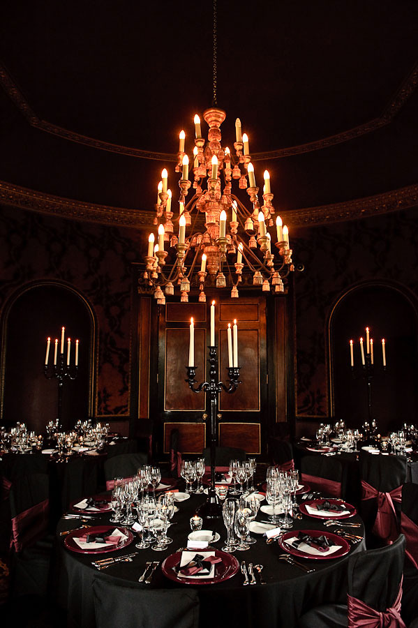 88 Events designs a Wedding at Western House Hotel - Black Essential Linen with Plum Faux Silk Seat Ties and Black Gloss Candelabra