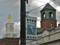 church.street  skyline.towers (origamidon) Tags: usa brick tower architecture clouds burlington vermont marathon towers belltower 1928 vt 05401 streetbanner burlingtoncityhall chittendencounty hosetower origamidon donshall burlingtonvermontusa goldtopped ethanallenenginecono4