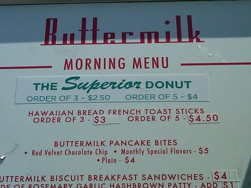 menu of donut truck