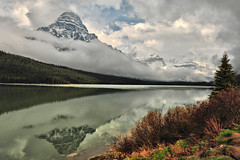 A Moment of Beauty at Mt Chephren (Jeff Clow) Tags: travel vacation lake canada mountains reflection tourism nature getaway glacier parkway albertacanada roadway banffnationalpark mountainrange icefieldsparkway waterfowllake mtchephren mountchephren gpse