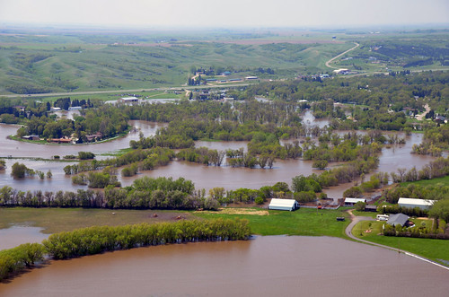Water floods areas along the Souris River Basin