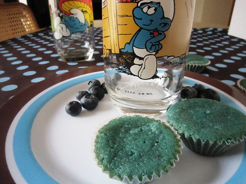 Blueberry cupcakes with Smurf glasses, take one