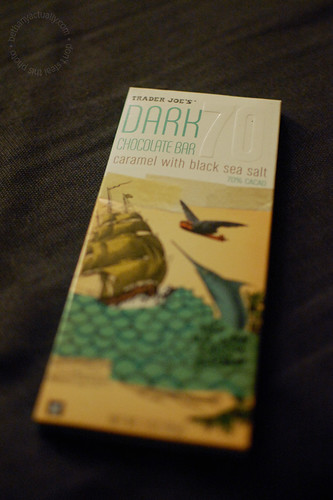 happy thing: dark chocolate with caramel and black sea salt