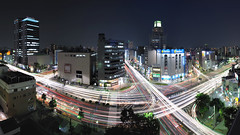 Crazy light stream (Shin-Nagoya) Tags: longexposure panorama japan lowlight downtown crossing nagoya intersection nightview nightphoto   aichi afterdark  citynight lighttrail lightstream urbannight nightimage localstreet nightpanorama carlighttrail nightcityscape  afsnikkor1424mmf28g