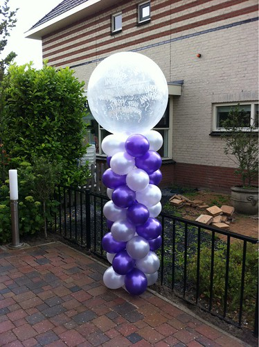 Ballonpilaar Breed Rond Happy Anniversary Paars, Zilver, Paars, Wit