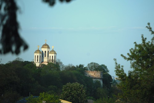 Old tower and cathedral in Ostroh, Ukraine