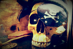 skull III (VintageReflection) Tags: pirate ship | tivoli copenhagen 2016 retrotwin lostillusion75 kopenhagen schädel totenkopf night decoration dekoration indoor augenklappe pirat treasure map schatzkarte skeleton bone coin gold calavera