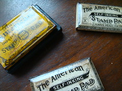 Applying a layer of lacquer to protect the labels - American Self Inking Stamp pad (c.1920) (L u S T R O) Tags: 1920s vintage 1930s desk antique pad rubber stamp american 1910s stationery