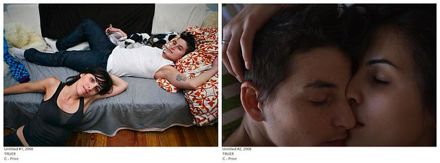 Two photographs from Sophia Wallace's series Truer. In the first, she and her partner lounge in their apartment. Sophia is wearing a black tank top and is leaning on the bed where her partner, in a white tank top and jeans, is lying. They are looking at the camera and look happy and relaxed. The second photograph is a close up of their faces, Sophia's mouth pressed up against her partners nose. You cannot tell if they are asleep or caught in a moment of deep intimacy.