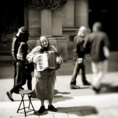 Squeeze Boxer (stephen cosh) Tags: blackandwhite bw mono glasgow candid streetphotography accordion gypsy gipsy squeezebox fujix100