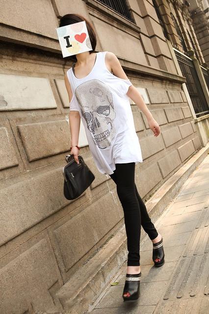 街拍潮范大骷髅亮钻露肩长款T恤裙 135#