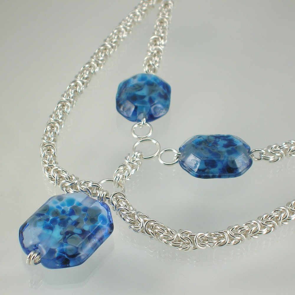 Blue Ice Byzantine Necklace
