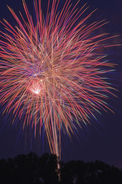 Fireworks, near Jefferson Barracks Park, in Lemay, Missouri, USA - 1