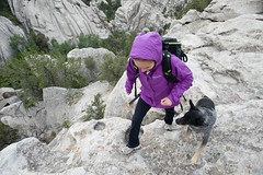 Wearing a Marmot rain jacket in purple