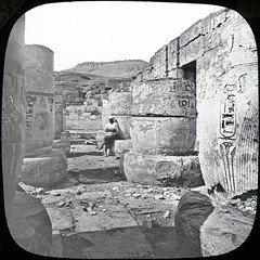 "Thebes - Medineth Abou [Medinet Habu, or the Mortuary temple of Ramesses III"" (10b travelling / Carsten ten Brink) Tags: lanternslides glassslides slides dia pyramid karnak luxor thebes medinet habu medinethabu medineth habou abou ramses ramesses ramessesiii mortuary egyptology hieroglyph anthropology ruins aegypten blackandwhite blackwhite monochrome ancient archeology egypt ctb cmtb tenbrink 10b carsten ten brink africa afrika afrique archaeology temple templo tempel 1000plus cmtbbw bw"