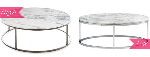 marble coffee table cb2 dwr