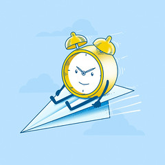 Time Flies (Color option) (erdavid) Tags: blue clock vintage paper airplane fly funny time character flies vector erdavid society6