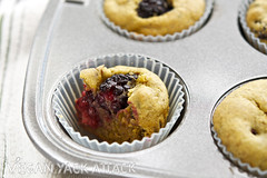 Bite of Mango Berry Muffin (Yack_Attack) Tags: food breakfast recipe vegan blackberry coconut mango snack pistachio vegetarian muffin flaxseed
