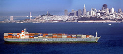 Ship Leaving for the Orient (Wernher Krutein) Tags: sanfrancisco california city travel panorama usa industry harbor boat ship commerce technology unitedstatesofamerica craft vessel cargo business commercial maritime transportation transit hauling nautical traveling hull containership fleet shipping merchant schiff freight civilian containers freighter mariner shipment mol transporting containershipping containerized transshipment freightage