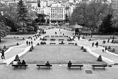 benches (Fokko Muller) Tags: park street people urban bw woman man paris building tree stairs bench crowd streetphotography sacrecoeur urbanphotography lumix20mmf17 panasonicgx1