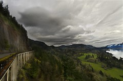 The Bridge at Cape Horn (Darrell Wyatt) Tags: bridge trees cliff storm green clouds river meadow columbia columbiarivergorge capehorn