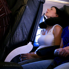 Not Sure How She Slept on this Flight (eoscatchlight) Tags: sleeping arizona candid napping traveling brunette mesa airlinetravel