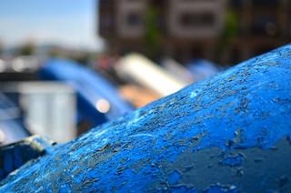 Hondarribia - Chipped paint on fishing boat bottom