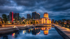 Downtown Waterfront Park (Justin in SD) Tags: park city blue reflection water fountain skyscraper canon downtown sandiego dusk reflect highrise canon5d bluehour administration hdr waterpark downtownsandiego cityadministration canon5dmarkiii 5d3 5dmark3 pwnight