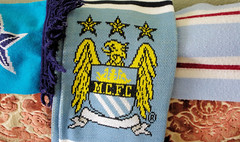 The Big Match (Mike Serigrapher) Tags: city scarf manchester gulp
