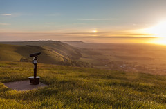 towards Fulking escarpment, West Sussex. (penwren) Tags: uk england landscape sussex evening chalk scenery britain nt telescope viewpoint southdowns escarpment truleighhill southdownsway fulkingescarpment canon5dmkll sdnp