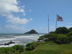 Koki Beach (jimmywayne) Tags: hawaii mauicounty maui hana kokibeach coast ocean flag