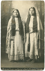 Kiawa [sic] Indian Girls in Buckskin dress (SMU Central University Libraries) Tags: girls oklahoma women longhair indians americanindians americanindian kiowa uswest nativeamericanportrait