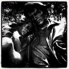 Came across this great sculpture (bocojay) Tags: blackandwhite sculpture woman white man black love statue bronze square blackwhite couple squareformat cuddle manandwoman iphone lomofi iphoneography instagramapp uploaded:by=instagram