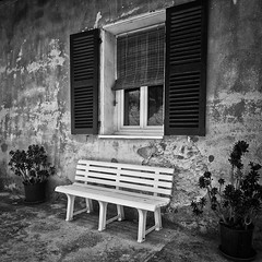 Sit on it (Allard One) Tags: flowers blackandwhite bw plants white house france monochrome bench spring nikon village zwartwit corte corsica may bank 11 textures pots veranda blinds frankrijk mei portfolio fullframe lente wit squarecrop venaco vierkant 2011 luiken sitonit centralcorsica nikcolorefexpro lacorse d700 hautecorse nikond700 nikkor2470mmf28 nikonfx allardone niksilverefexpro allard1 allardschagercom