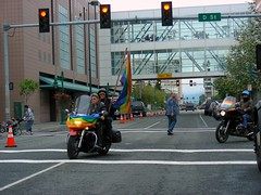 Dykes on Bikes turning off D Street onto 6th Avenue at the parade's start.