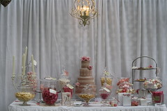 Lolly buffet, cake & chandelier. (Taste of Luxury) Tags: pink wedding roses cake vintage nude four ivory royal icing piping tiers elegance fondant